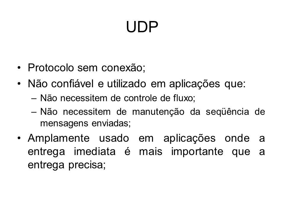 UDP Protocolo sem conexão;