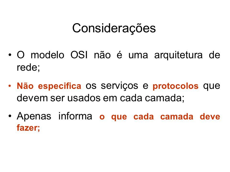 Considerações O modelo OSI não é uma arquitetura de rede;