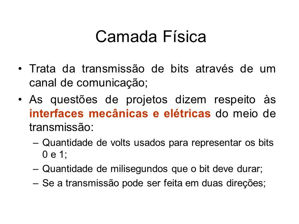 Camada Física Trata da transmissão de bits através de um canal de comunicação;
