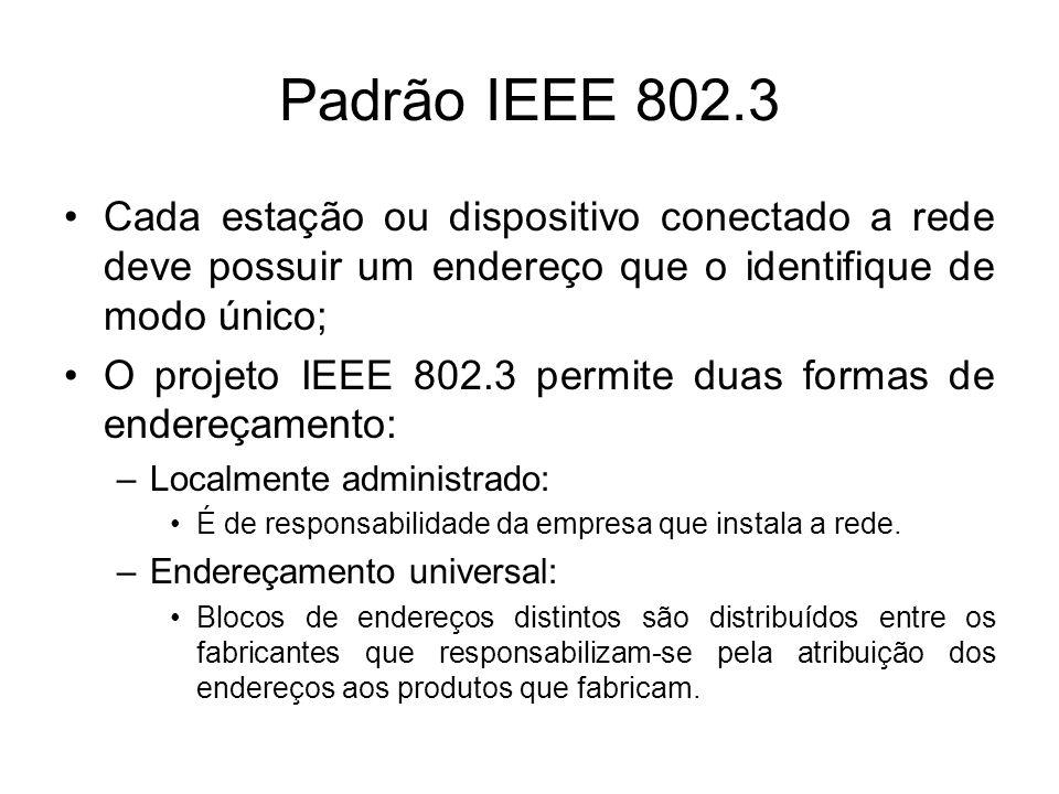 Padrão IEEE 802.3 Cada estação ou dispositivo conectado a rede deve possuir um endereço que o identifique de modo único;