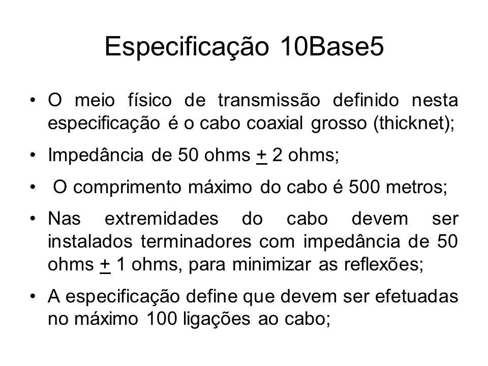 Especificação 10Base5 O meio físico de transmissão definido nesta especificação é o cabo coaxial grosso (thicknet);