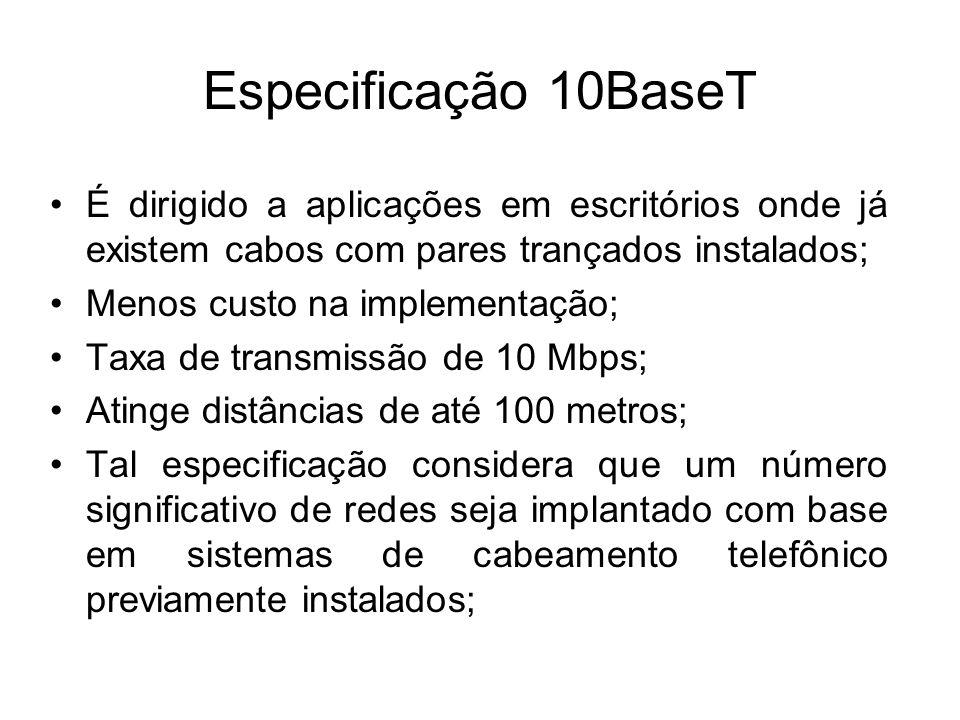 Especificação 10BaseT É dirigido a aplicações em escritórios onde já existem cabos com pares trançados instalados;