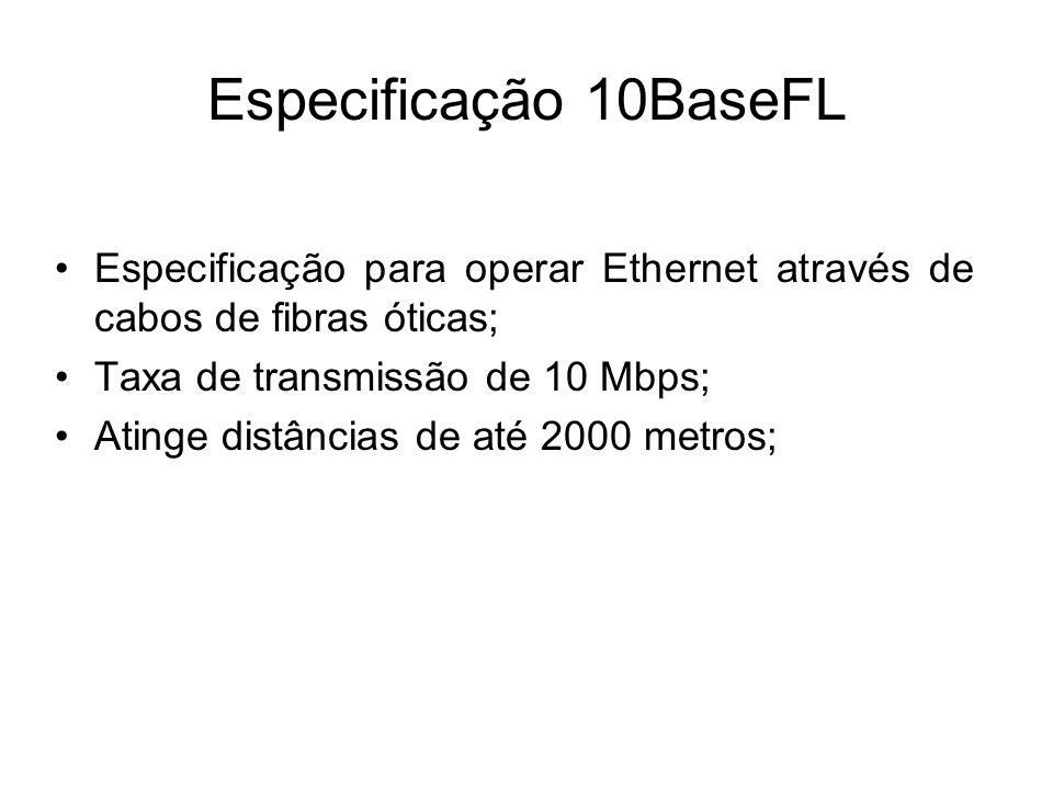 Especificação 10BaseFL Especificação para operar Ethernet através de cabos de fibras óticas; Taxa de transmissão de 10 Mbps;