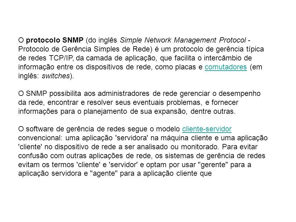 O protocolo SNMP (do inglês Simple Network Management Protocol - Protocolo de Gerência Simples de Rede) é um protocolo de gerência típica de redes TCP/IP, da camada de aplicação, que facilita o intercâmbio de informação entre os dispositivos de rede, como placas e comutadores (em inglês: switches).
