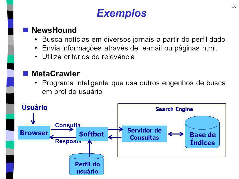 Exemplos NewsHound MetaCrawler