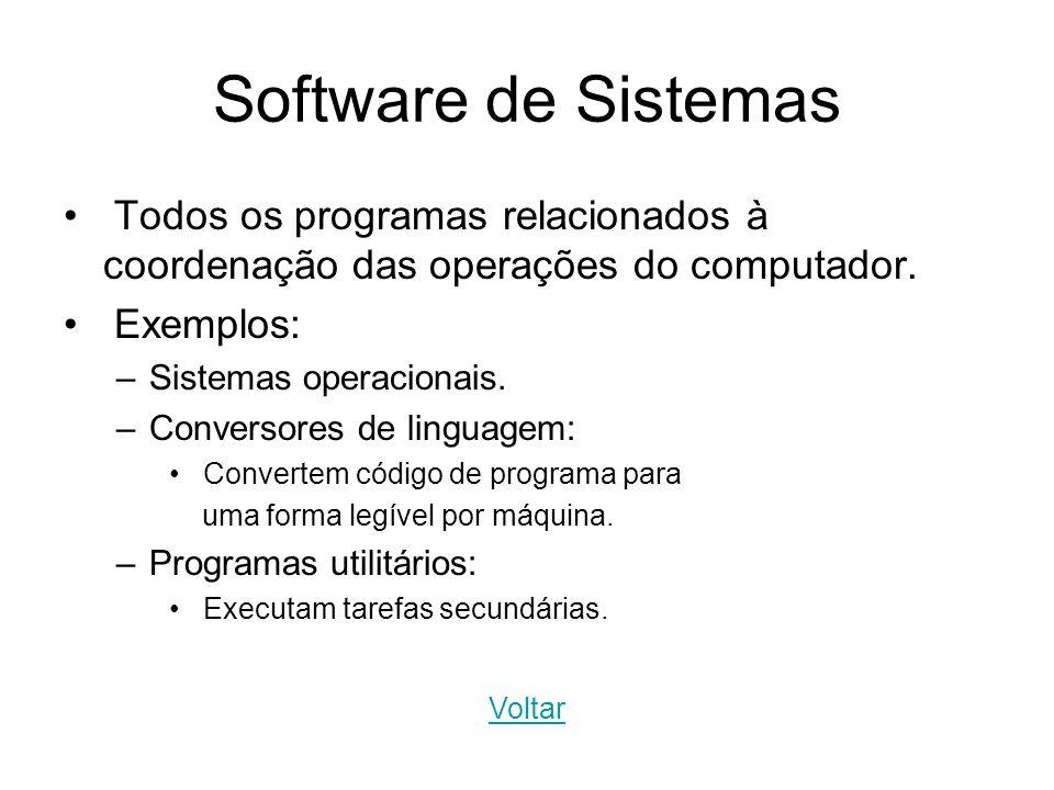 Software de Sistemas Todos os programas relacionados à coordenação das operações do computador. Exemplos: