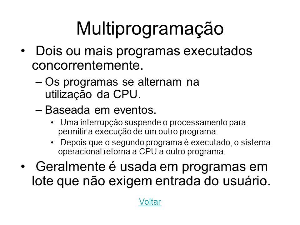 Multiprogramação Dois ou mais programas executados concorrentemente.