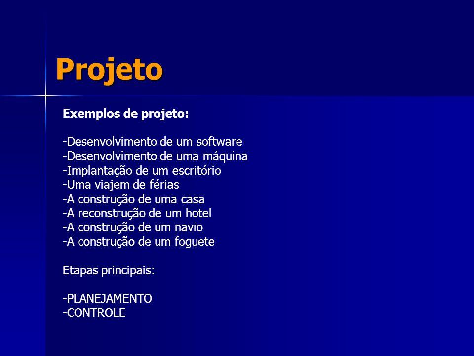 Projeto Exemplos de projeto: Desenvolvimento de um software