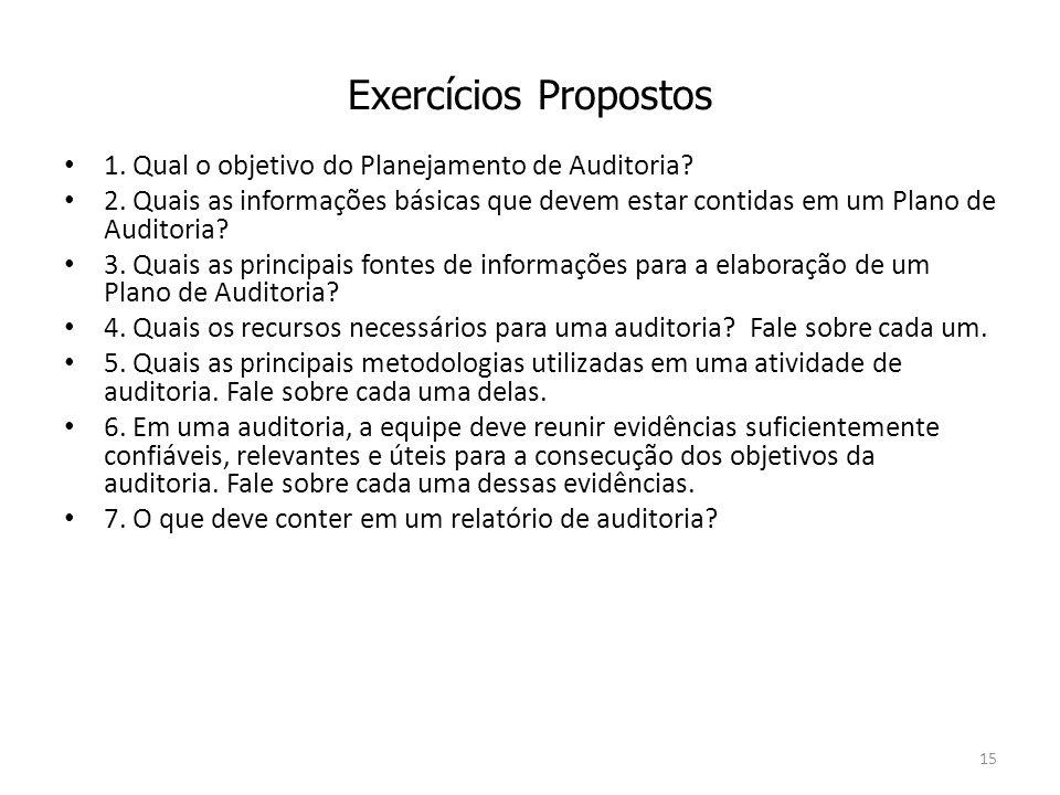 Exercícios Propostos 1. Qual o objetivo do Planejamento de Auditoria