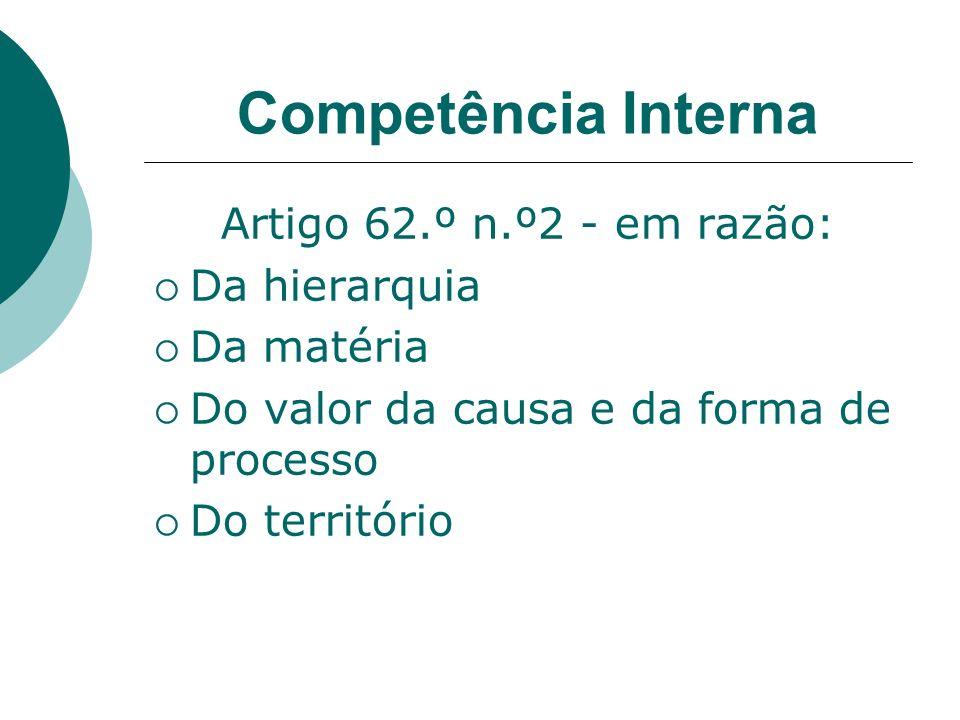 Competência Interna Artigo 62.º n.º2 - em razão: Da hierarquia