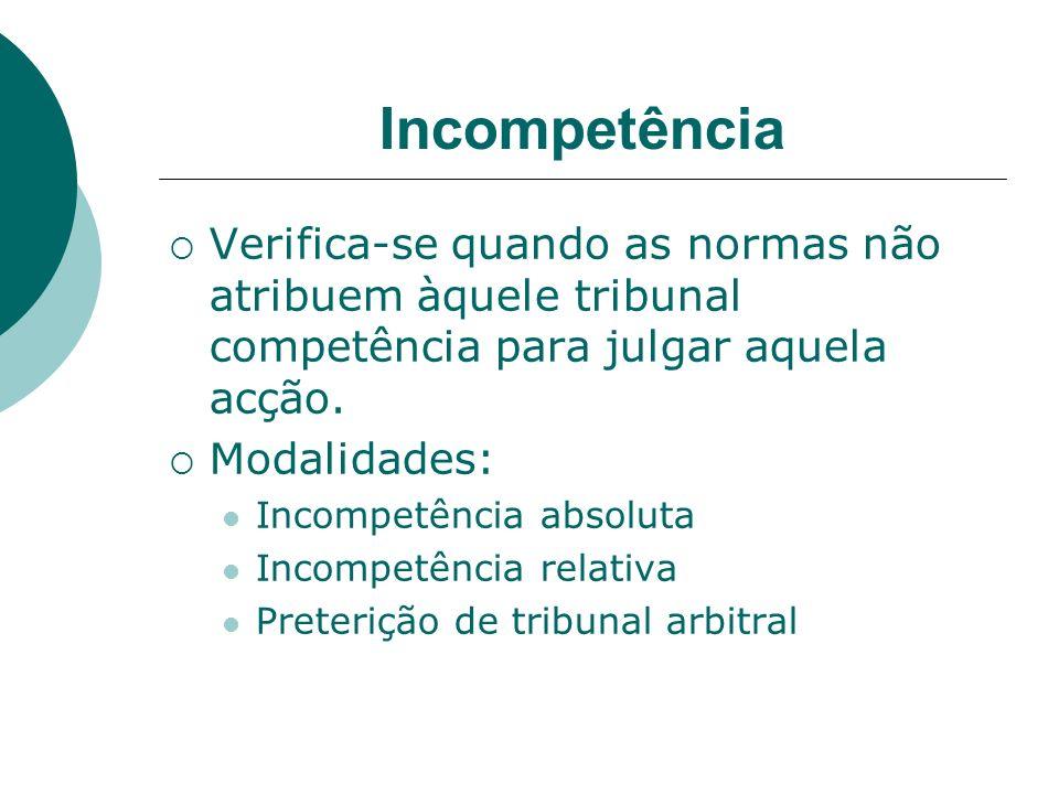 IncompetênciaVerifica-se quando as normas não atribuem àquele tribunal competência para julgar aquela acção.