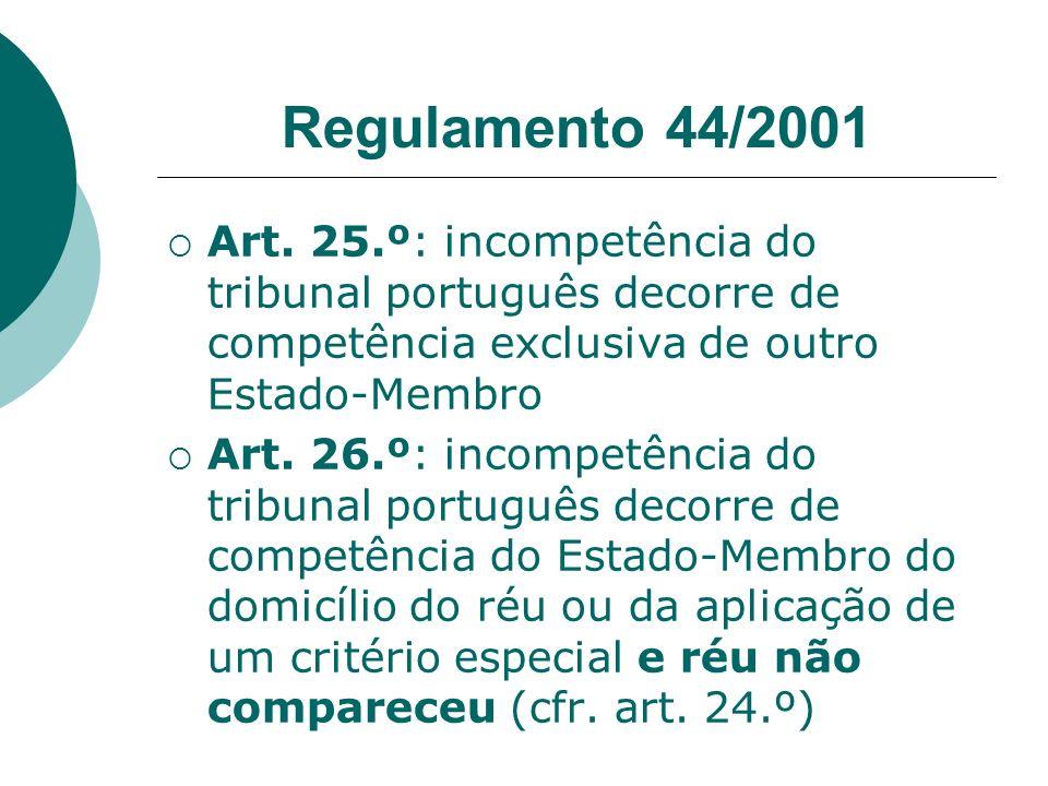 Regulamento 44/2001 Art. 25.º: incompetência do tribunal português decorre de competência exclusiva de outro Estado-Membro.