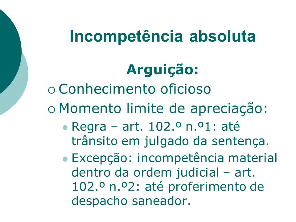 Incompetência absoluta