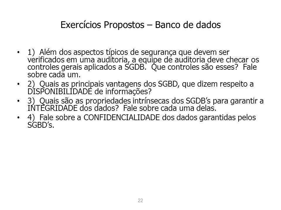 Exercícios Propostos – Banco de dados