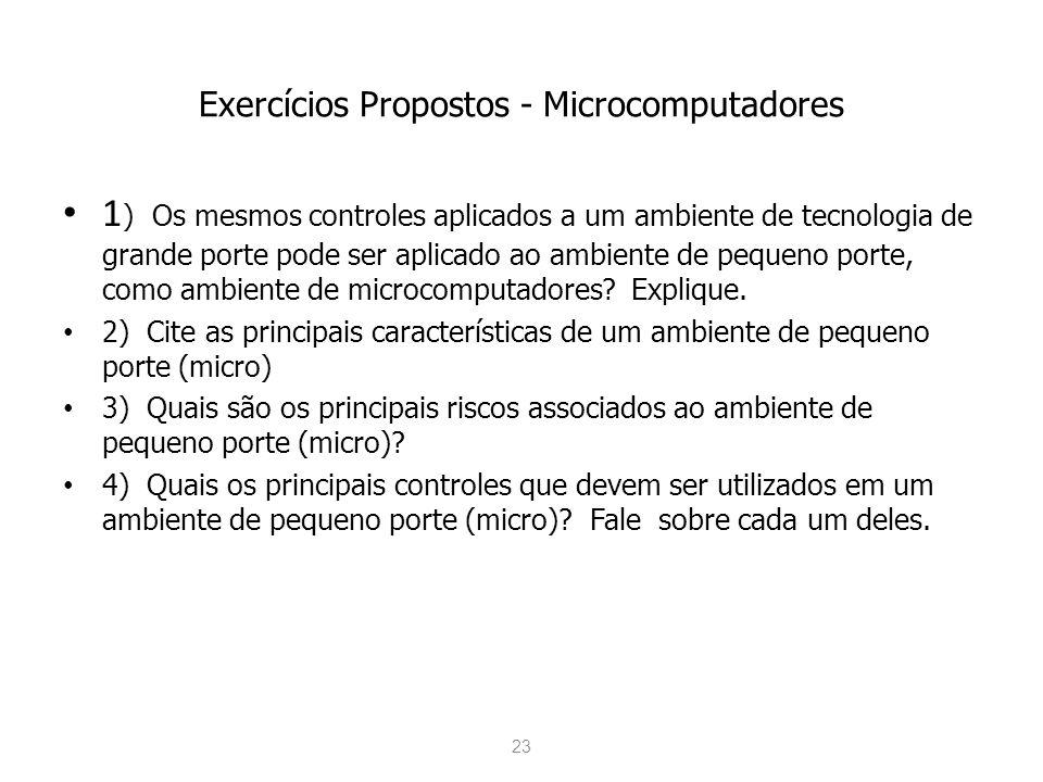 Exercícios Propostos - Microcomputadores