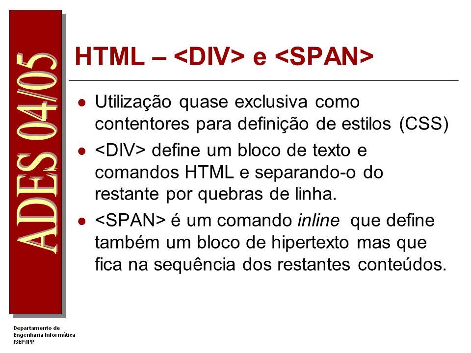 HTML – <DIV> e <SPAN>