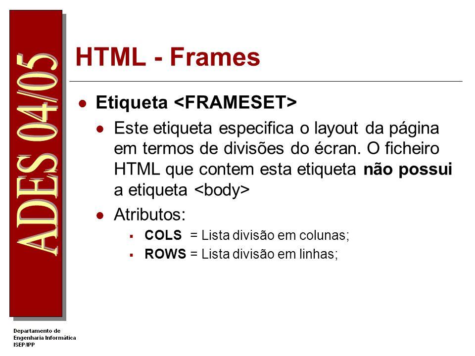 HTML - Frames Etiqueta <FRAMESET>