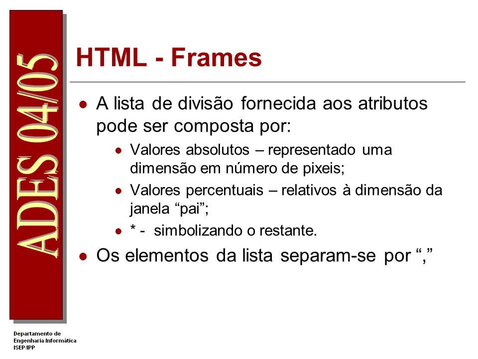 HTML - Frames A lista de divisão fornecida aos atributos pode ser composta por: Valores absolutos – representado uma dimensão em número de pixeis;