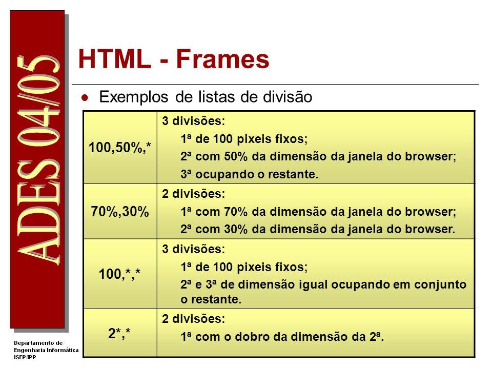 HTML - Frames Exemplos de listas de divisão 100,50%,* 70%,30% 100,*,*