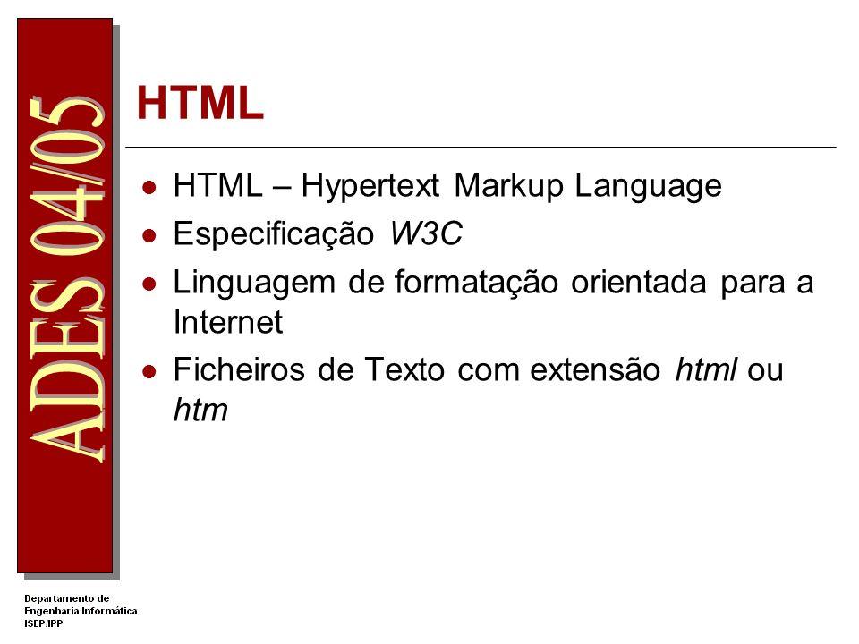 HTML HTML – Hypertext Markup Language Especificação W3C