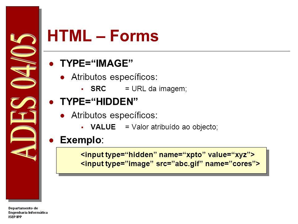 HTML – Forms TYPE= IMAGE TYPE= HIDDEN Exemplo: