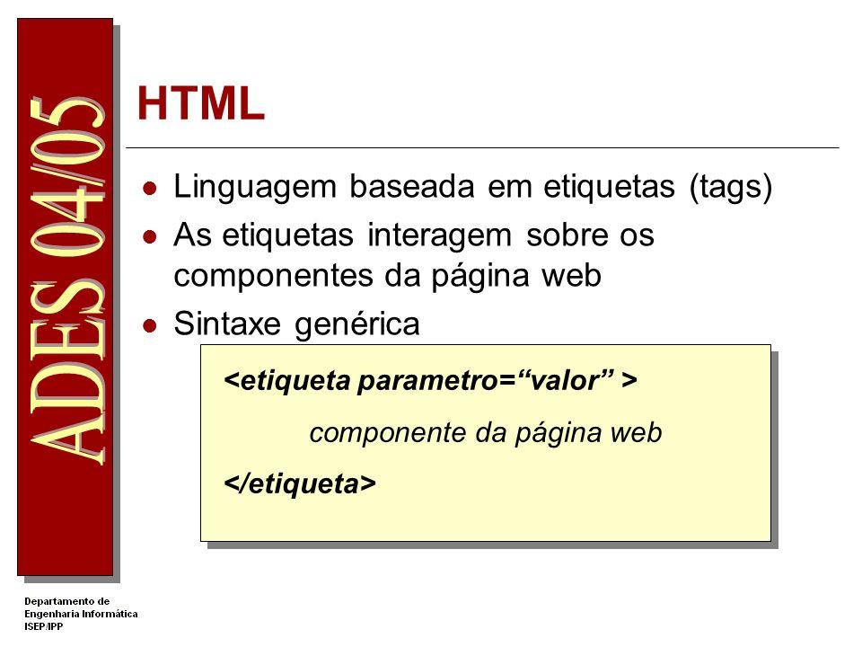 HTML Linguagem baseada em etiquetas (tags)