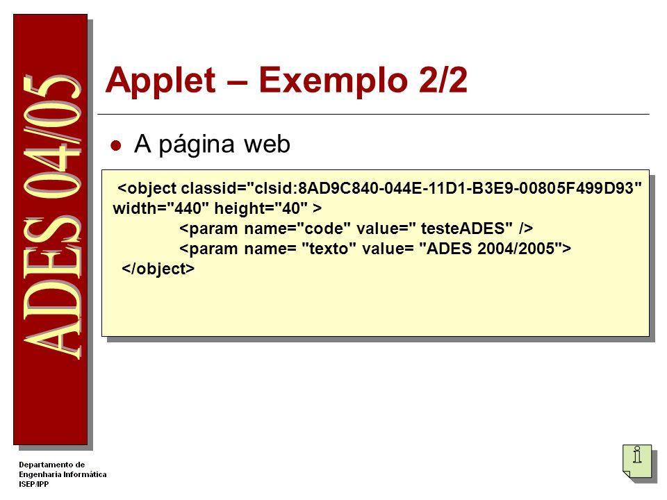 Applet – Exemplo 2/2 A página web