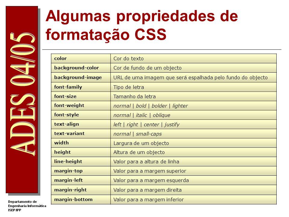 Algumas propriedades de formatação CSS