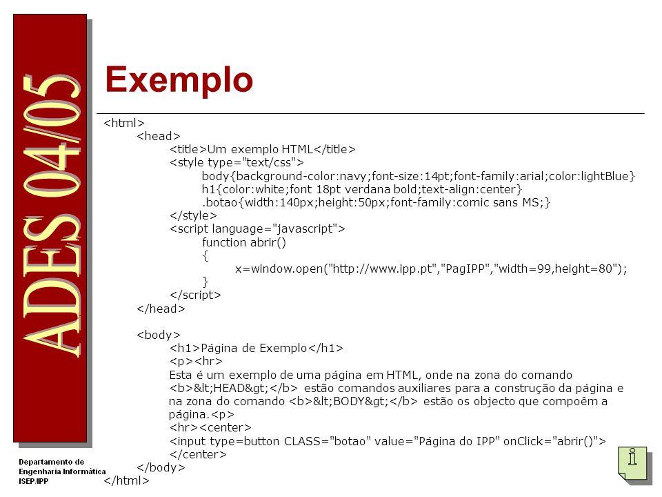 Exemplo <html> <head>