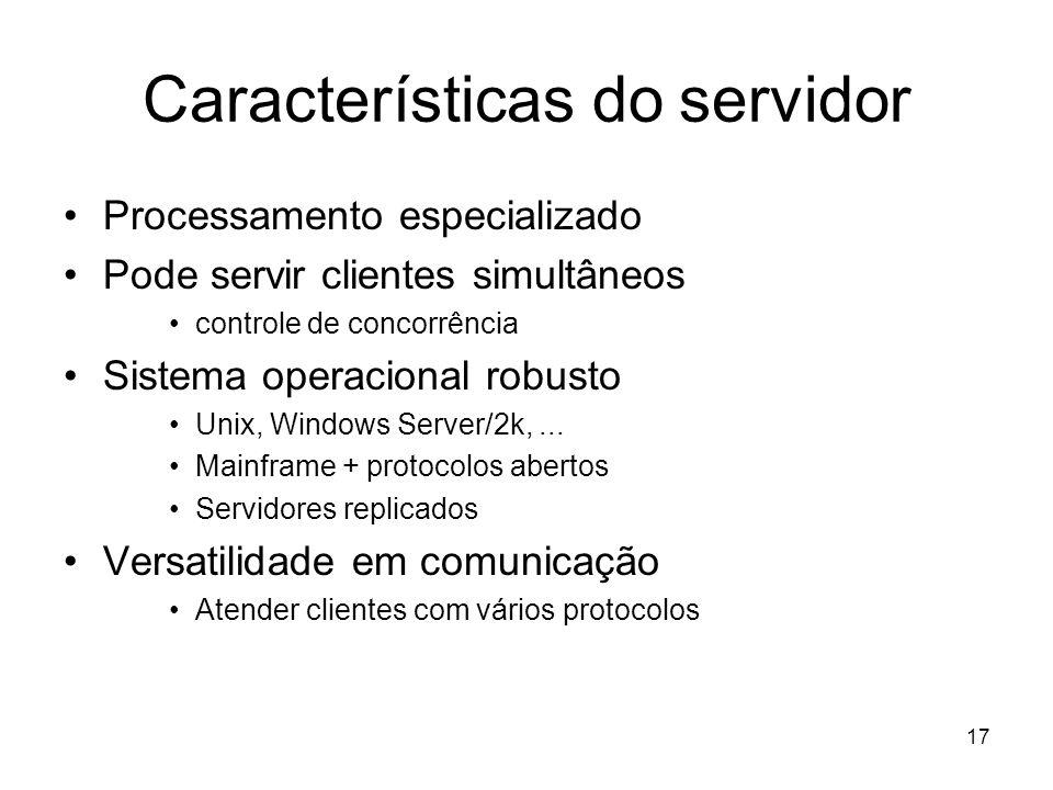 Características do servidor