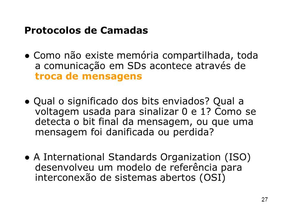Protocolos de Camadas ● Como não existe memória compartilhada, toda a comunicação em SDs acontece através de troca de mensagens.