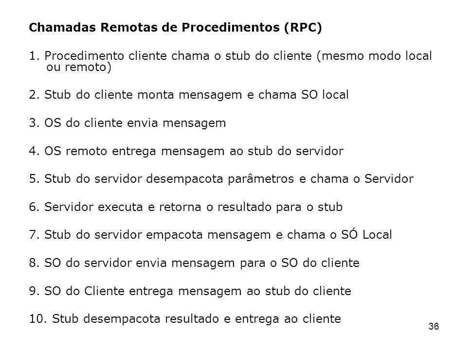 Chamadas Remotas de Procedimentos (RPC)