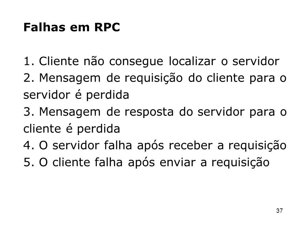 Falhas em RPC 1. Cliente não consegue localizar o servidor. 2. Mensagem de requisição do cliente para o.