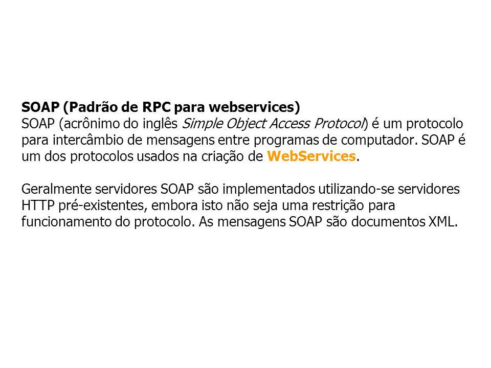 SOAP (Padrão de RPC para webservices) SOAP (acrônimo do inglês Simple Object Access Protocol) é um protocolo para intercâmbio de mensagens entre programas de computador.