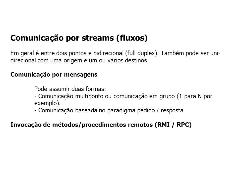 Comunicação por streams (fluxos) Em geral é entre dois pontos e bidirecional (full duplex).