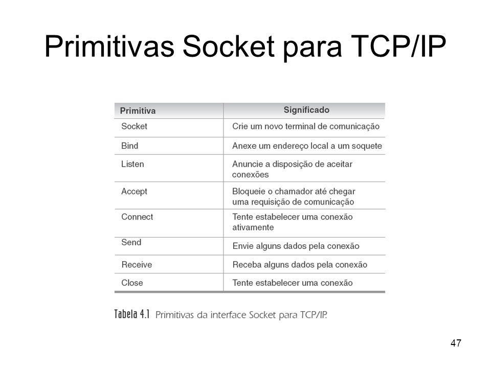 Primitivas Socket para TCP/IP