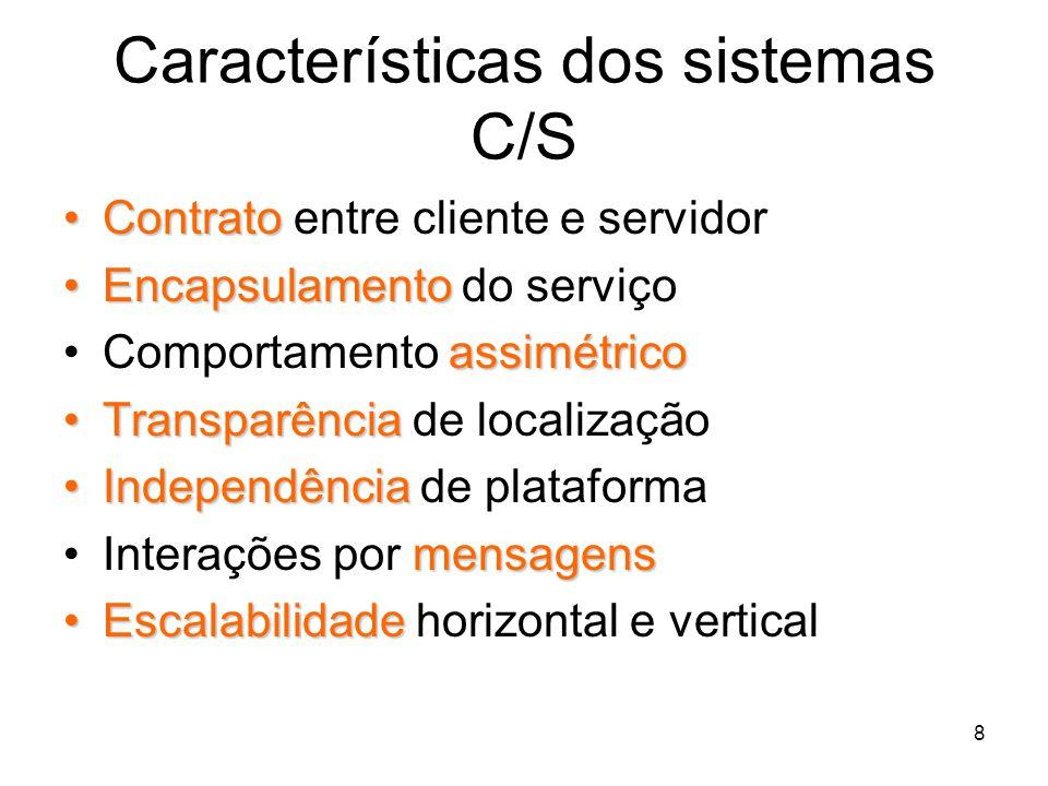 Características dos sistemas C/S