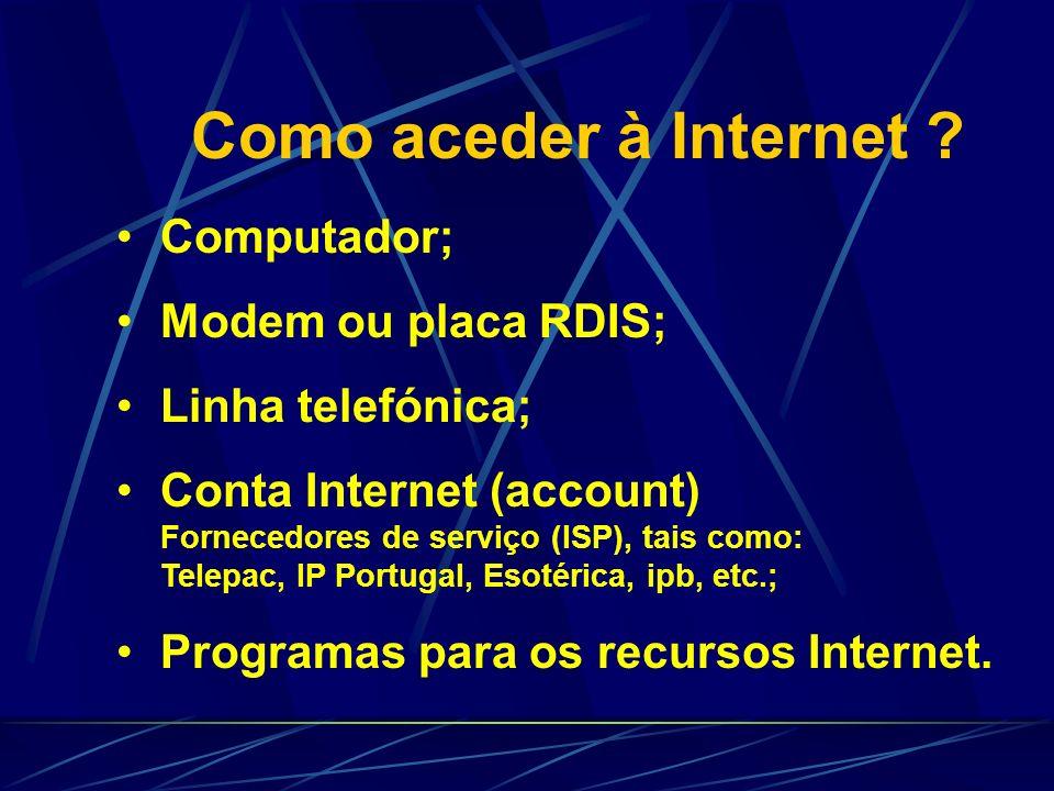 Como aceder à Internet Computador; Modem ou placa RDIS;