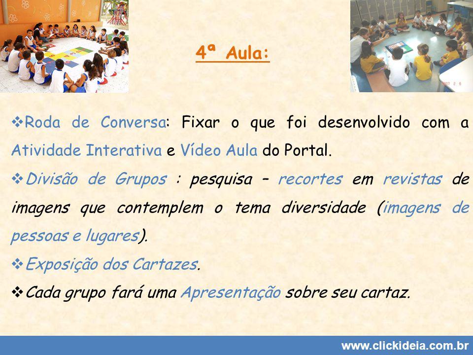 4ª Aula: Roda de Conversa: Fixar o que foi desenvolvido com a Atividade Interativa e Vídeo Aula do Portal.