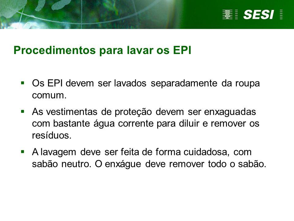 Procedimentos para lavar os EPI