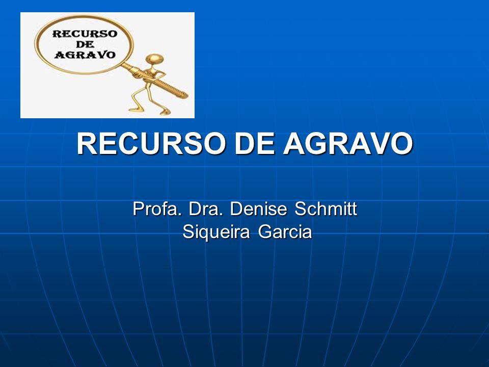 RECURSO DE AGRAVO Profa. Dra. Denise Schmitt Siqueira Garcia