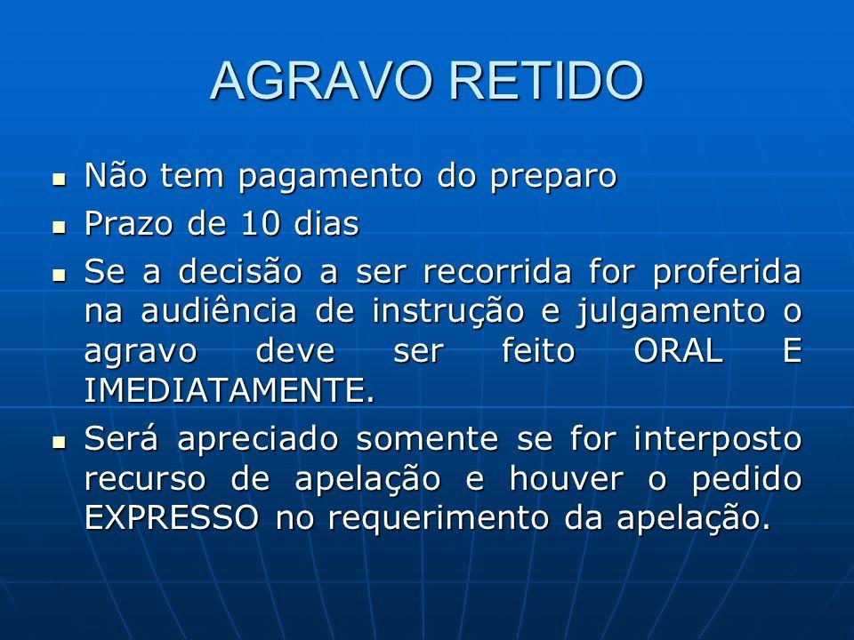 AGRAVO RETIDO Não tem pagamento do preparo Prazo de 10 dias