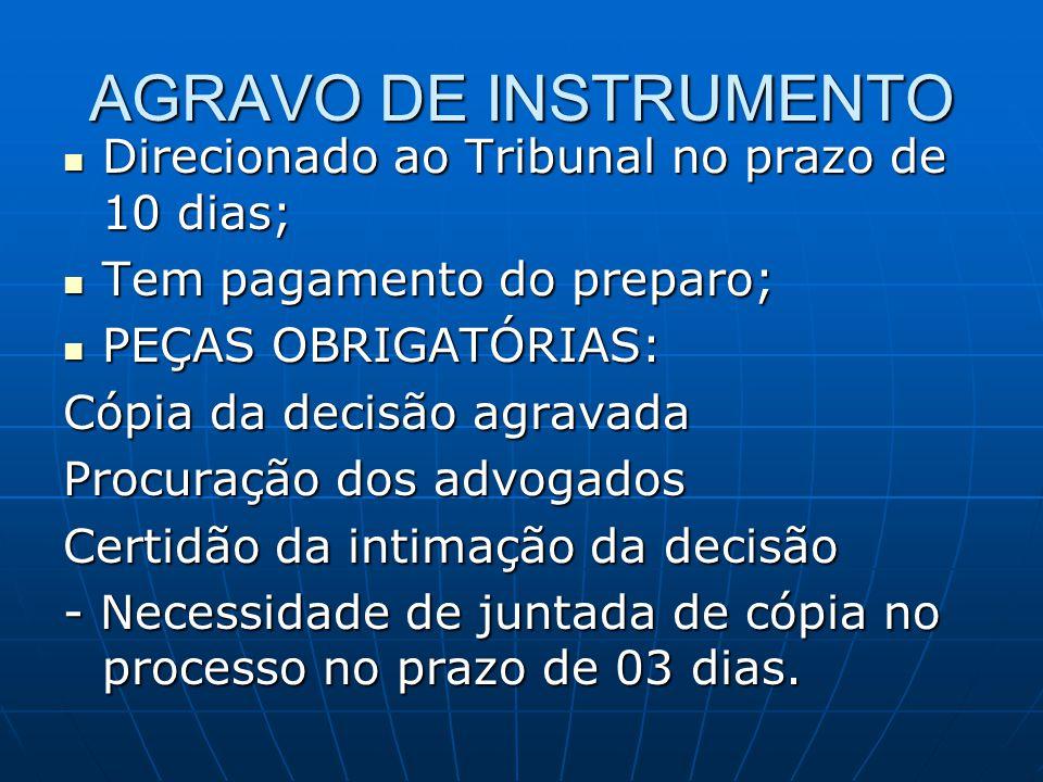 AGRAVO DE INSTRUMENTO Direcionado ao Tribunal no prazo de 10 dias;