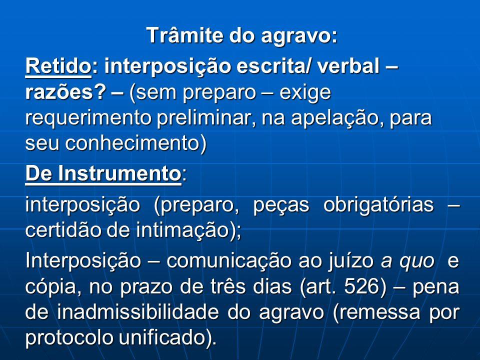Trâmite do agravo: Retido: interposição escrita/ verbal – razões – (sem preparo – exige requerimento preliminar, na apelação, para seu conhecimento)