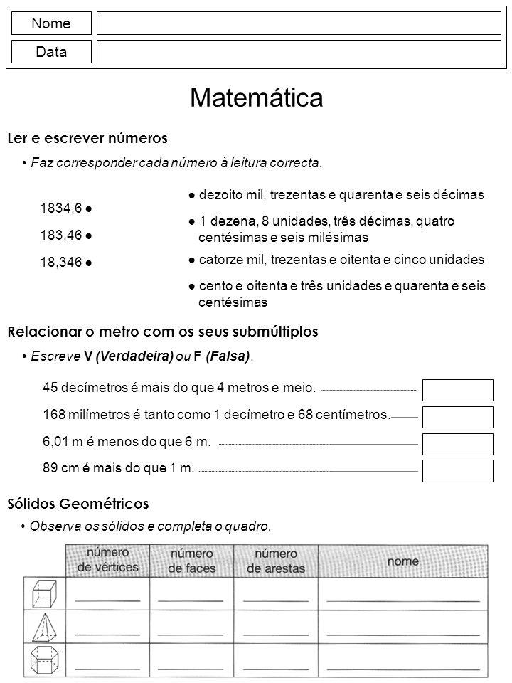 Matemática Nome Data Ler e escrever números