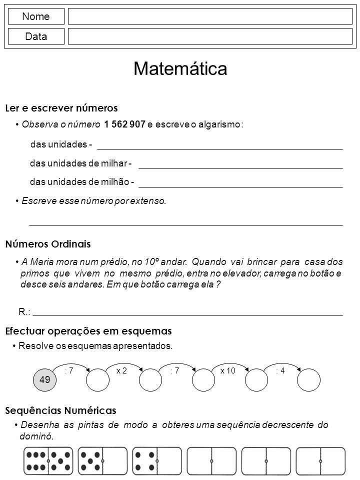 Matemática Nome Data Ler e escrever números Números Ordinais