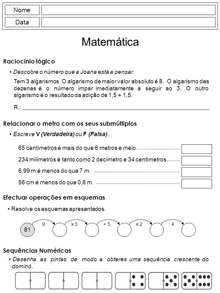 Matemática Nome Data Raciocínio lógico