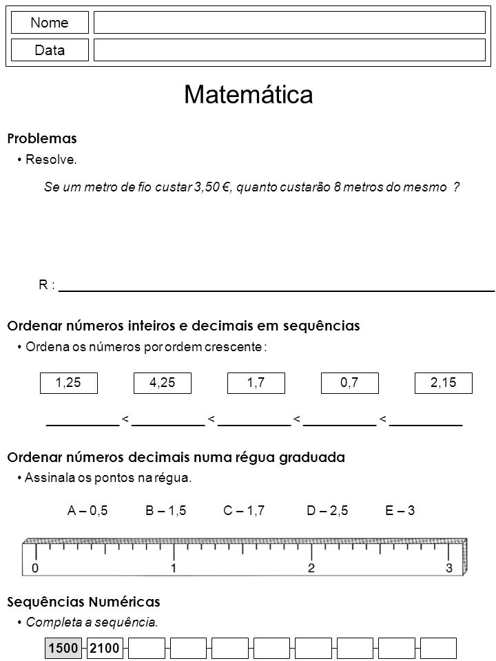 Matemática Nome Data Problemas