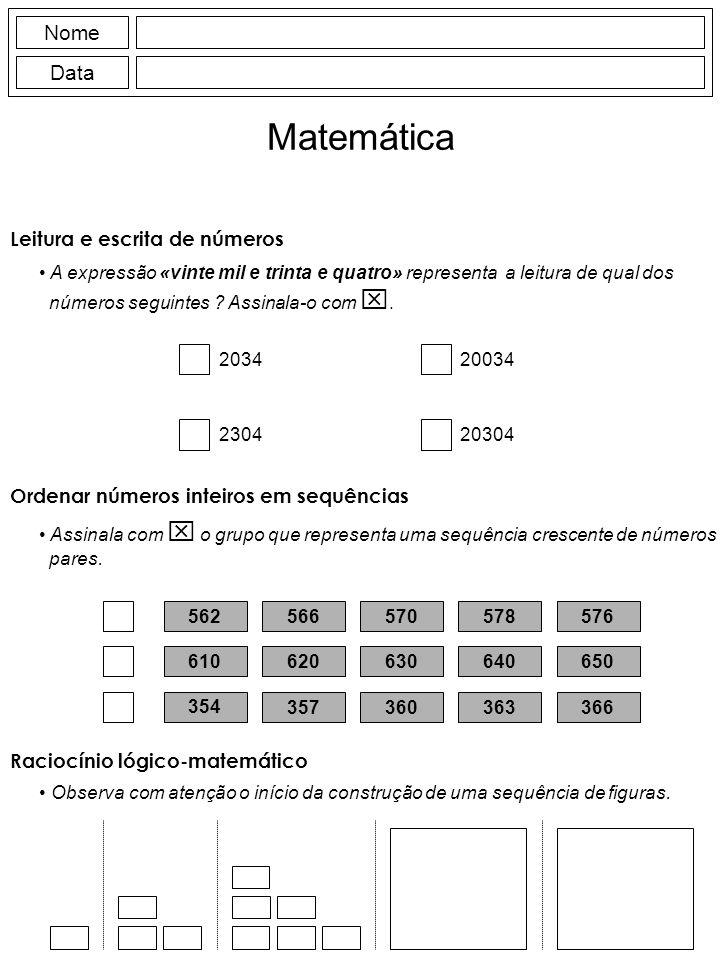 Matemática Nome Data Leitura e escrita de números