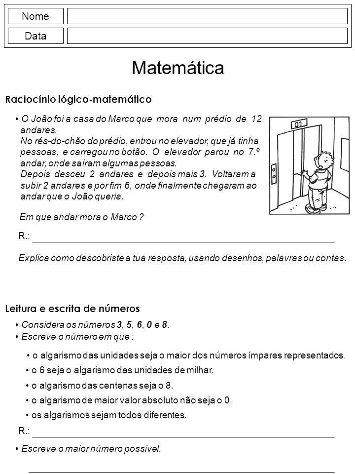 Matemática Nome Data Raciocínio lógico-matemático